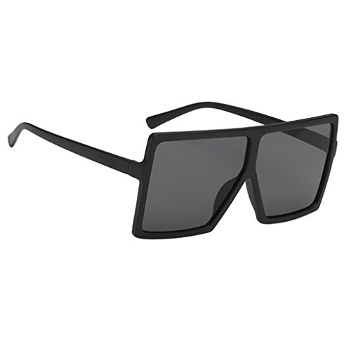MagiDeal Damen Herren Vintage Oversize Sonnenbrillen - Matte Balck Farme Balck Linse