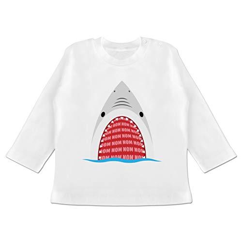 Hungrig Langarm (Tiermotive Baby - Hungriger Hai - 6-12 Monate - Weiß - BZ11 - Baby T-Shirt Langarm)