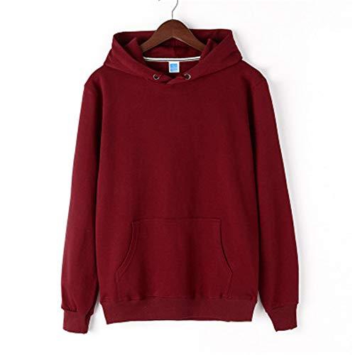 ZHOUJINGTIAN Herren Frühjahr und Herbst Pullover Pullover mit Kapuze einfarbig Freizeitkleidung Rotwein 2XL -