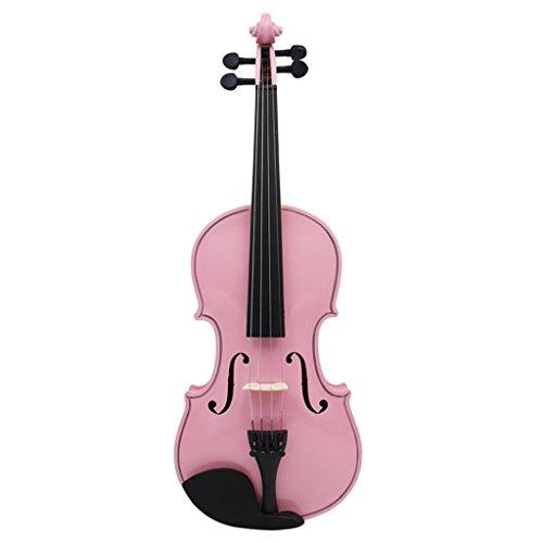 SM SunniMix Professionelle 4/4 Violine Geige mit Zubehör Set für Kinder Anfänger - Rosa