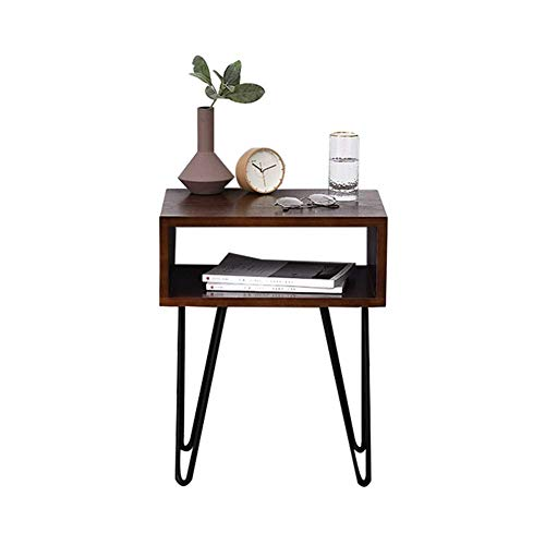 HYLH Side Tables,Tables Bedside Table with Drawer Shelf Cabinet Side Table Storage Unit,End Table/NightStand (Color : Deep Walnut, Size : 45 * 35 * 55cm) -