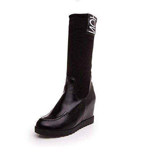 AgooLar Damen Gemischte Farbe Pu Leder Hoher Absatz Ziehen Auf Rund Zehe  Stiefel Schwarz
