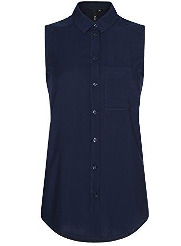 oodji Ultra Damen Viskose-Ärmellose Bluse mit V-Ausschnitt, Blau, DE 40 / EU 42 / L