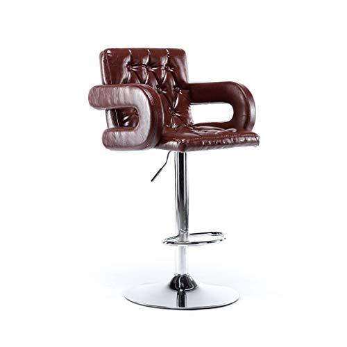 GXDHOME Hohe Barhocker, höhenverstellbares 360-Grad-Schwenker-weiches bequemes PU-Leder-Chrom-Edelstahl, der Wohnzimmer speist (Farbe : Brown)