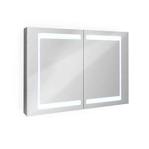 Bad Schrank - Spiegelschrank Aluminium 100 cm