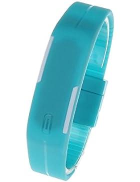 FEITONG Unisex Ultra Thin Silikon Digital LED Sport Uhren Armbanduhr Blau Armband