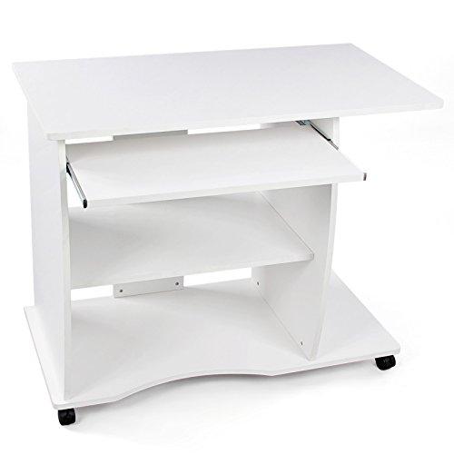 VASAGLE Schreibtisch, Computertisch, Bürotisch auf Rollen, leichtgängiger Tastaturauszug, erleichterte Montage, PC Tisch mit 2 Ablageböden, 90 x 75 x 50 cm LCD751W