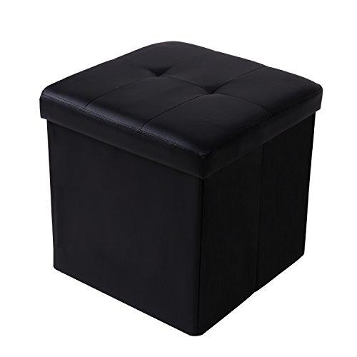 Cclife pouf cubo poggiapiedi sgabello contenitore a cassa panca pouf pieghevole in ecopelle da 42 x 42 x 42 cm, colore:nero