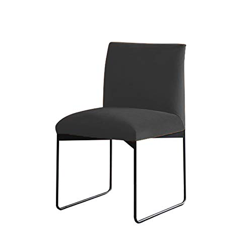 - Kalb-leder-klappe (Unbekannt XYFFDining-Chair Casual Backrest Chair Fair Guest Chair Design Single 78 * 52 * 50cm Black Grey (Leder-weiche Tasche + Schwarze Halterung))