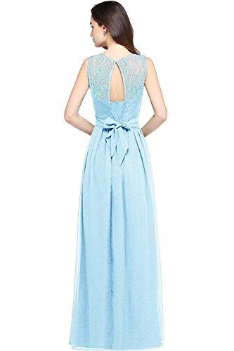 Robe Femme Longue en Mousseline pour Soirée Mariage Robe de Demoiselle d'Honneur Florale Dos Nu en Dentelle avec Ceinture par MisShow Bleu Ciel