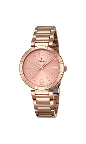 Festina MADEMOISELLE Women's Quartz Watch with Rose Gold Dial Analogue Display and Rose Gold Stainless Steel Rose Gold Plated Bracelet F16939/1