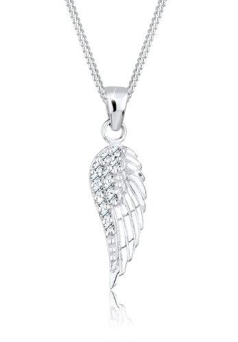 Elli Damen Halskette mit Flügel Anhänger und Swarovski Kristallen im Brillantschliff in 925 Sterling Silber 45 cm lang