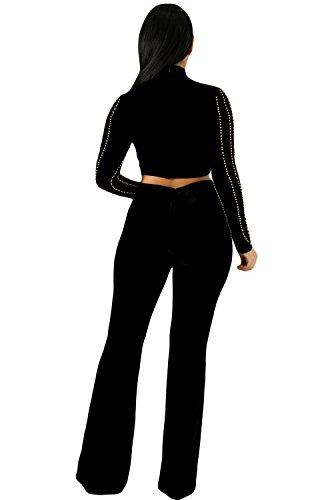 Femmes Sexy Hot Drilling 2 Pièces Jumpsuit Long Sleeve Top court + jambes larges Noir