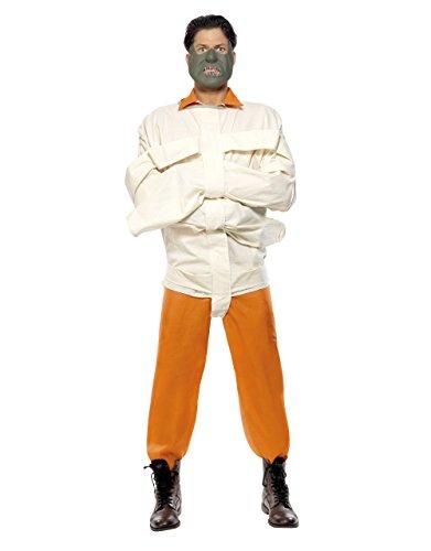 Silence of The Lambs Kostüm für Herren, Hannibal Lecter Outfit, Orange, Größe M, Brustumfang 96,5-101,6 cm, Taille 81-86,4 cm, Innennaht 81,9 (Lecter Kostüm)