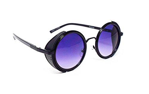 472b317854 Marco Ultra negro con morado lentes gafas de sol Steampunk 50s ronda gafas  con protección UV400 ...