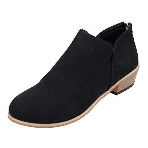 letten Frühling Herbst Mode Zipper Blockabsatz Shoes Booties Chelsea Stiefel Casual Schuhe Schwarz EU 40 ()