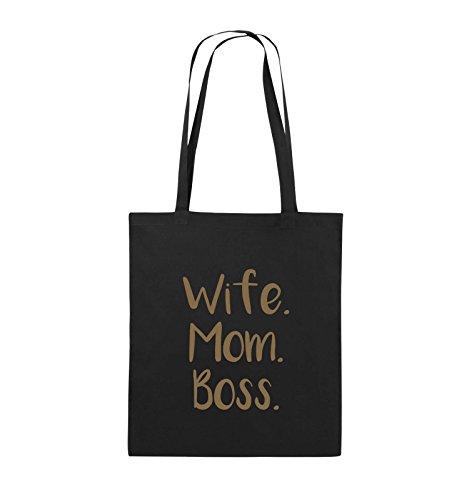 Comedy Bags - Wife Mom Boss - Jutebeutel - lange Henkel - 38x42cm - Farbe: Schwarz / Pink Schwarz / Hellbraun