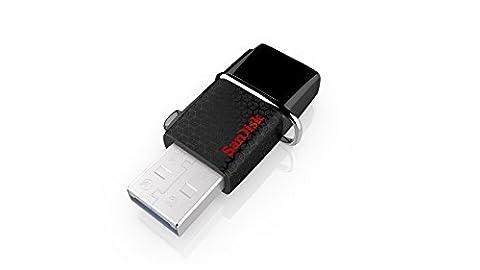 Clé USB 3.0 à Double Connectique Sandisk Ultra 64 Go avec une Vitesse de Lecture Allant jusqu'à 130 Mo/s