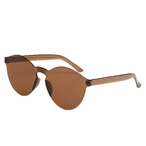fazry Damen Herren Mode Oval Form Rahmen Bonbonfarben Rahmenlos Transparent Sonnenbrille(Braun)