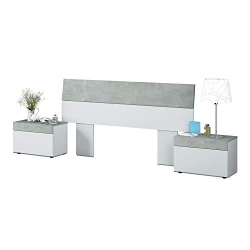 Habitdesign 0L6096A - Cabezal y mesitas, Blanco Artik y Gris Cemento, Medidas: 176 x 96,5 cm de Altura