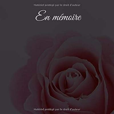 En mémoire: 200 pages, Livre de condoléances, design noble, format carré 21 x 21 cm (8,25' x 8,25') / livre de deuil, Livre d'or pour les funérailles, services funéraires