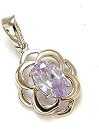En or blanc 9 carats avec pendentif en zircon lilas-Sans chaîne
