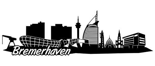 Samunshi® Bremerhaven Skyline Wandtattoo Sticker Aufkleber Wandaufkleber City Gedruckt Bremerhaven 120x36cm schwarz