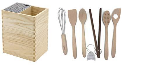 Unbekannt Legnoart Mistery Box Messerblock und Werkzeugregal, Eschenholz mit 6 Utensilien Utensil Crock