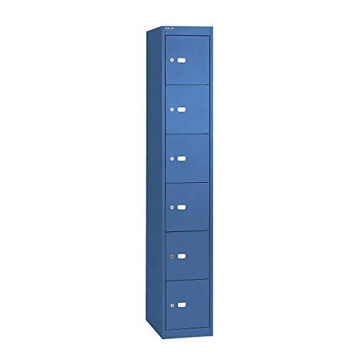 Bisley Office Schließfachschrank mit einem Abteil- Schließfachspind mit 6 Fächern aus Stahl- Garderobenschrank in blau