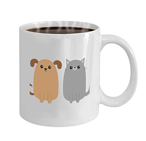 Coffee Mug - Ceramic Mugs - Novelty Gifts idea Women, For Mom, Wife, 11 Oz tea cup White cartoon dog cat puppy kitten mustache whisker tail