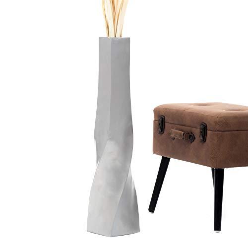 Leewadee Große Bodenvase für Dekozweige hohe Standvase Design Holzvase 75 cm, Mangoholz, Silber