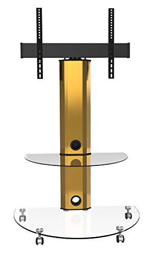 Goldline Gold Clear Glass Led Tv Unit, Tv Stand With Wheels, Clear Glass Tv Stand 32 Inch 42 Inch 46 Inch And 50 Inch 55 Inch 65 Inch Tv Stand, Cantilever Tv Stand With Swivel And Bracket In Gold Finish