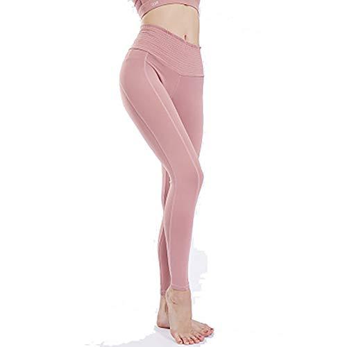 FYrainbow Damenlange Yoga-Hosen, Fitness-Sportstrumpfhose hohe Taille Stretch-Fitness-Hosen atmungsaktiv,D,M