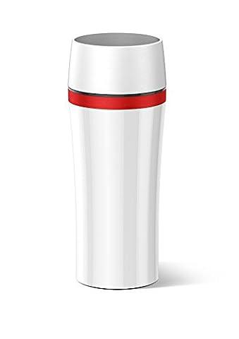 Emsa 514579 Isolierbecher, Mobil genießen, 360 ml, Quick Press Verschluss, Weiß/Rot, Travel Mug