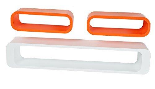 Ensemble de 3 Design Rétro Cube étagère murale pour CD en couleur orange
