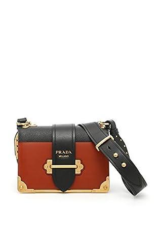 Prada Damen 1Bd0452bb0f027m Schwarz/Rot Leder Schultertasche