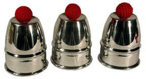ProTriXX Cups and Balls Aluminium, Becherspiel für Zauberkasten, Zaubertricks und Zauberartikel, Bälle Verschwinden und erscheinen unter den Bechern, Zauberzubehör - Chop Cup Balls