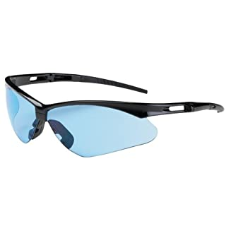 Anser 250-AN-10113 Semi-Rimless Safety Glasses with Black Frame, Light Blue Lens and Anti-Scratch Coating by Anser