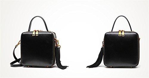 Xinmaoyuan Damen Handtaschen Leder Tasche Leder Einzel Schulter schräg Armband kleine Quadratische Tasche Vintage Literatur Einfache Quaste mit hoher Kapazität, Schwarz Schwarz