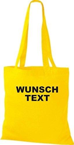 tessuto sacchetto con testo o logo stampato giallo dorato