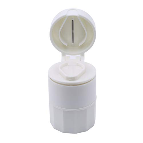 Bigsweety Runde Pille Cutter Medizin Crusher Grinder Splitter Tablet Cutter Teiler Aufbewahrungskoffer Pillendose Schneiden Tabletten (Weiß) - 5 Weiß Teiler Tab