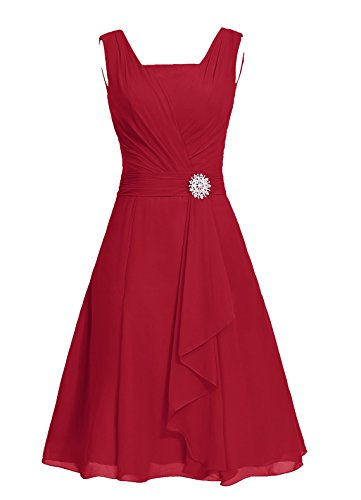 Dresstells, robe courte de demoiselle d'honneur mousseline col carré Rouge Foncé