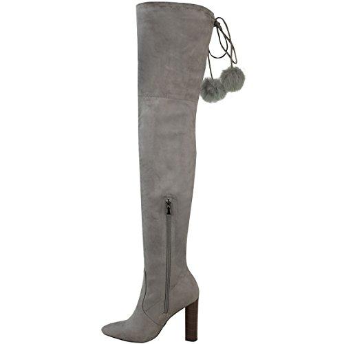 Neu Damen Hoch Schenkelhoch Stretch Stiefel Overknee Pom Pom High Heels Größe Grau Kunstwildleder