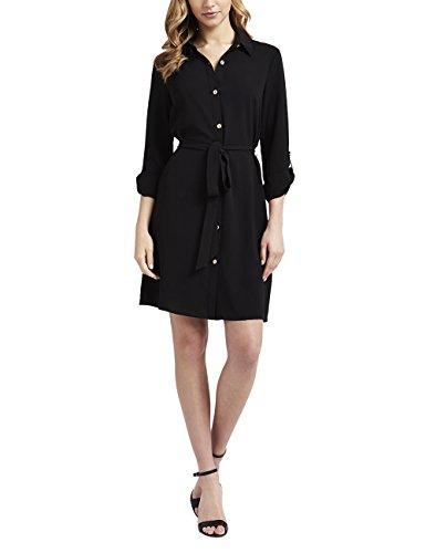 Lipsy Damen Kleid Hemdblusenkleid Langarm Bindegürtel Durchgehende Knopfleiste Schwarz 38 (Peplum Cap)