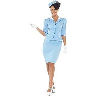Luxuspiraten - Damen Frauen traditionelles Retro Flugbegleiterin Stewardessen Kostüm mit Rock, Jacke, Handschuhe und Mütze, perfekt für Karneval, Fasching und Fastnacht, M, Blau