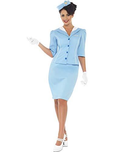 Frauen traditionelles Retro Flugbegleiterin Stewardessen Kostüm mit Rock, Jacke, Handschuhe und Mütze, perfekt für Karneval, Fasching und Fastnacht, M, Blau ()