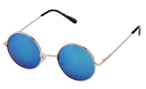 Sonnenbrille Nickelbrille mit runden Gläsern und Federscharnieren retro Art. 8058-15 gold / blau verspiegelt