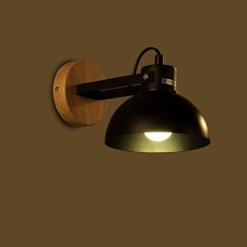 Nordic Mini LED Beleuchtung Einstellbare Schmiedeeisen Wandleuchte Wohnzimmer Korridor Studie Schlafzimmer Nachttischlampe Schwarz Massivholz Dekorative Kleine Wandleuchte -