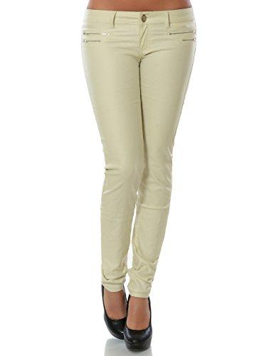 Damen Hose Kunstlederhose Skinny Röhre (weitere Farben) No 14258 Ecru