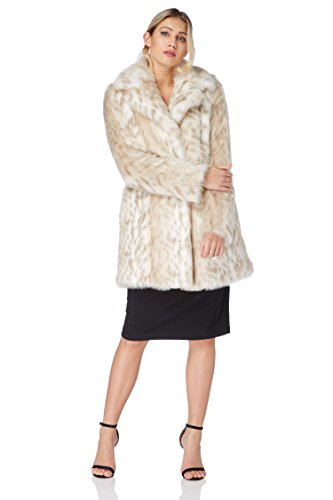 Roman Originals Women's Beige Animal Faux Fur Coat Sizes 10-20